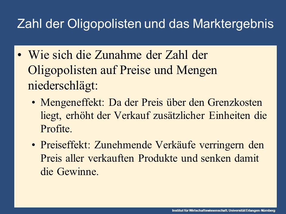 Institut für Wirtschaftswissenschaft. Universität Erlangen-Nürnberg Zahl der Oligopolisten und das Marktergebnis Wie sich die Zunahme der Zahl der Oli