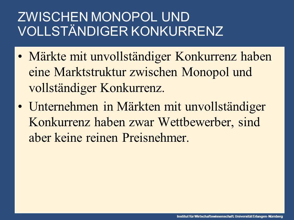 Institut für Wirtschaftswissenschaft. Universität Erlangen-Nürnberg ZWISCHEN MONOPOL UND VOLLSTÄNDIGER KONKURRENZ Märkte mit unvollständiger Konkurren