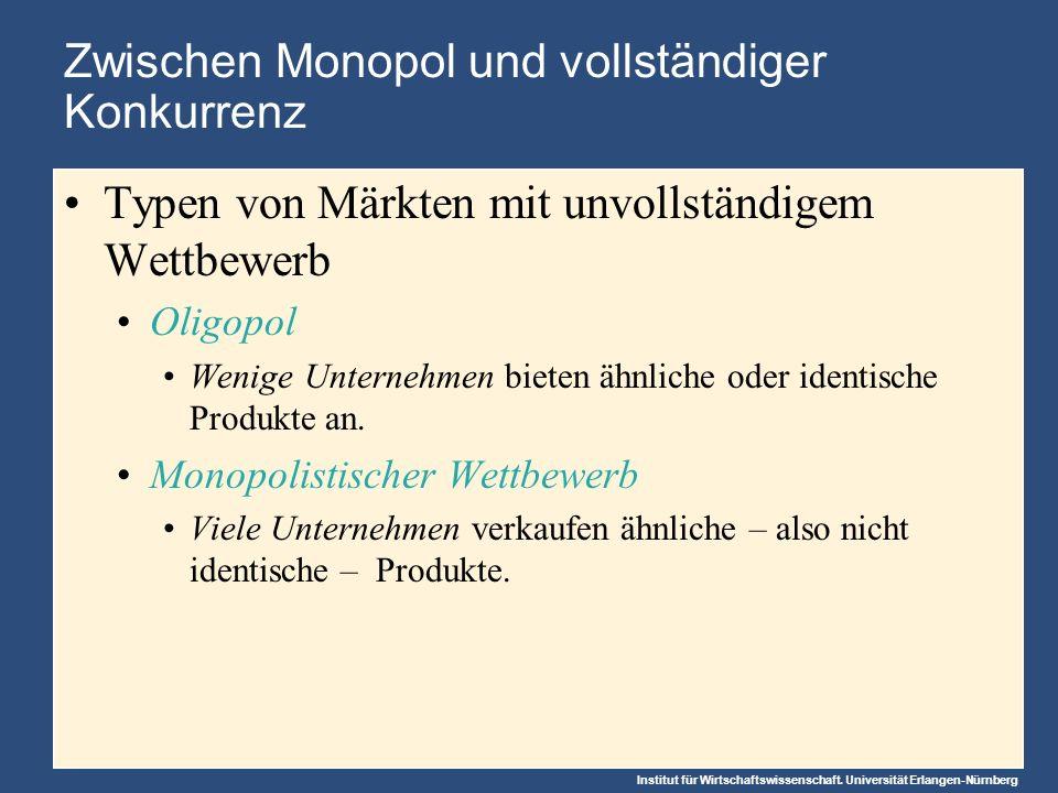 Abbildung 1: Vier typische Marktstrukturen Wasser Kabel-TV Monopol (Kapitel 15) Romane Spielfilme Monopolistische Konkurrenz (Kapitel 17) Tennisbälle Rohöl Oligopol (Kapitel 16) Zahl der Anbieter.