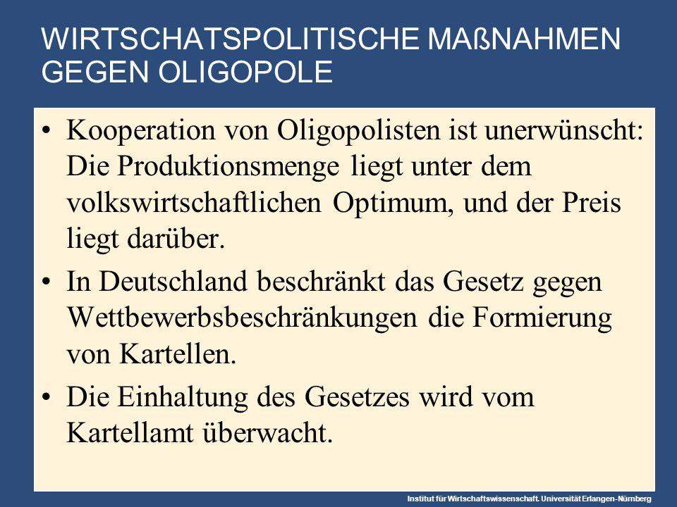 Institut für Wirtschaftswissenschaft. Universität Erlangen-Nürnberg WIRTSCHATSPOLITISCHE MAßNAHMEN GEGEN OLIGOPOLE Kooperation von Oligopolisten ist u