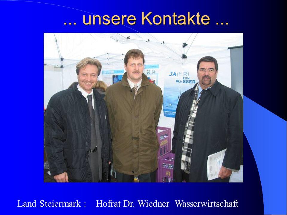 ... unsere Kontakte... Land Steiermark : Hofrat Dr. Wiedner Wasserwirtschaft