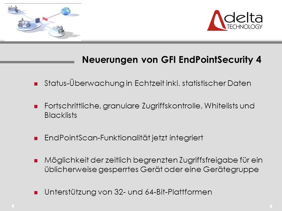 Neuerungen von GFI EndPointSecurity 4 Status-Überwachung in Echtzeit inkl.