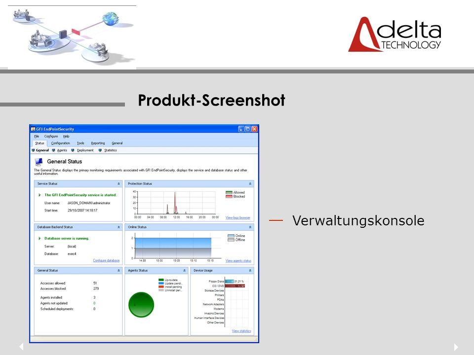 Produkt-Screenshot Verwaltungskonsole