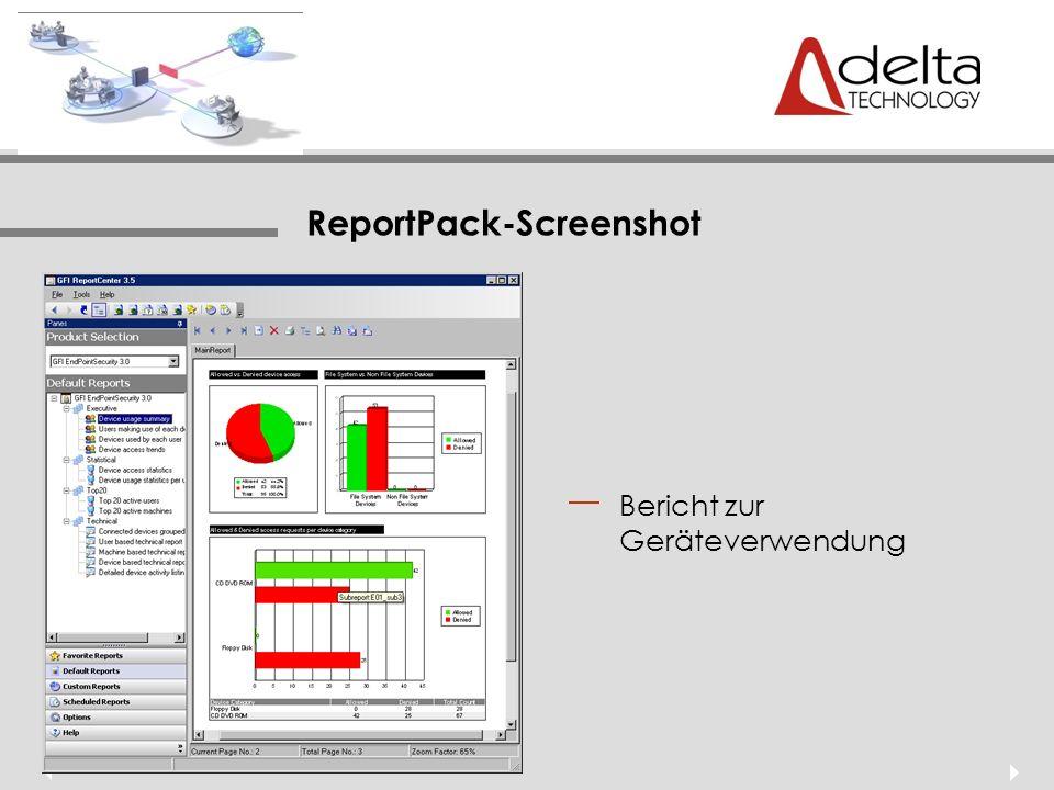 ReportPack-Screenshot Bericht zur Geräteverwendung
