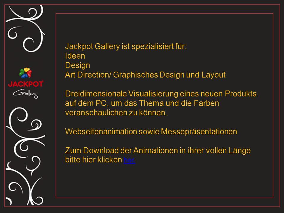 Jackpot Gallery ist spezialisiert für: Ideen Design Art Direction/ Graphisches Design und Layout Dreidimensionale Visualisierung eines neuen Produkts auf dem PC, um das Thema und die Farben veranschaulichen zu können.