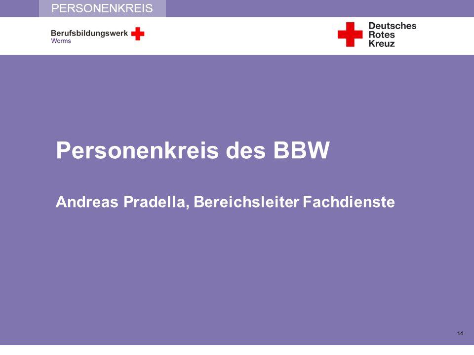 PERSONENKREIS Personenkreis des BBW Andreas Pradella, Bereichsleiter Fachdienste 14
