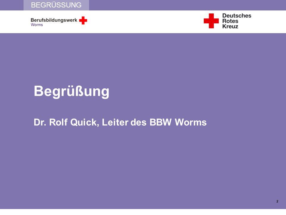 BEGRÜSSUNG Begrüßung Dr. Rolf Quick, Leiter des BBW Worms 2