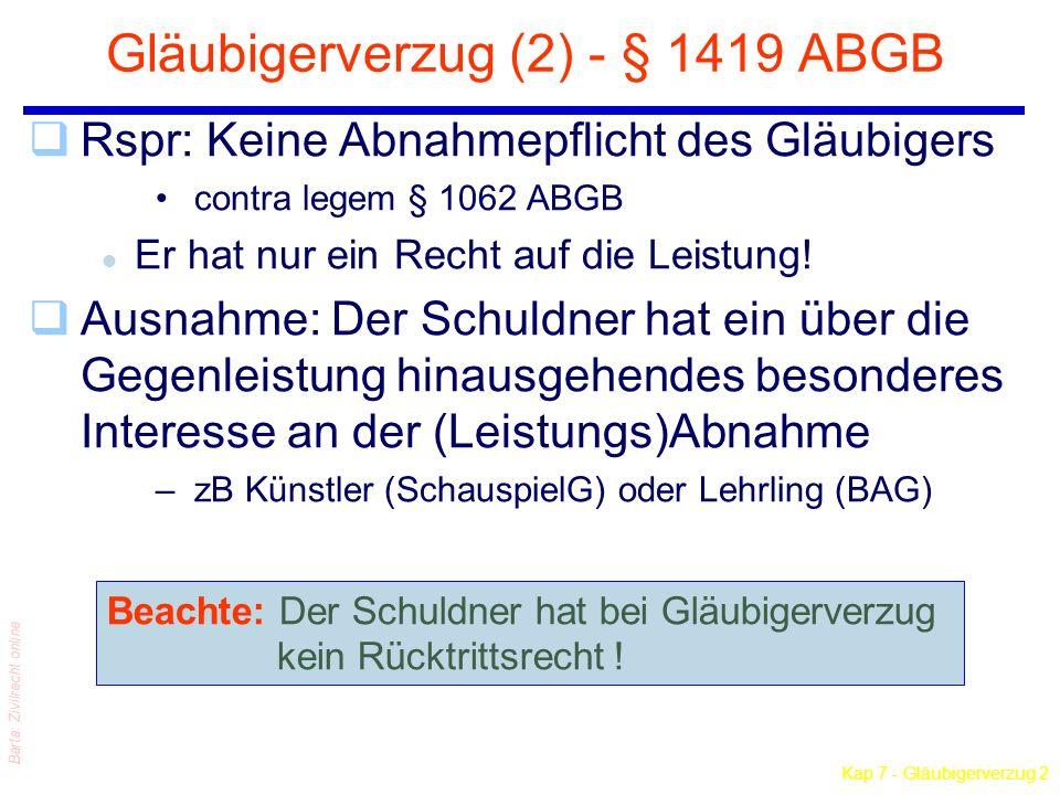 Kap 7 - Gläubigerverzug 2 Barta: Zivilrecht online Gläubigerverzug (2) - § 1419 ABGB qRspr: Keine Abnahmepflicht des Gläubigers contra legem § 1062 AB