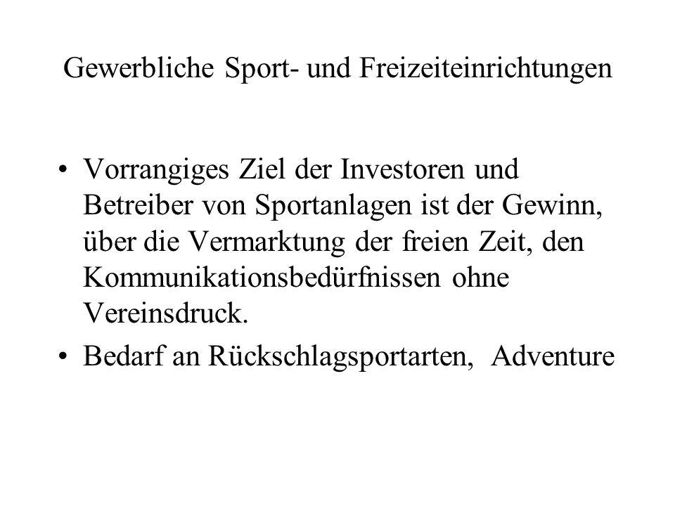 Gewerbliche Sport- und Freizeiteinrichtungen Vorrangiges Ziel der Investoren und Betreiber von Sportanlagen ist der Gewinn, über die Vermarktung der f