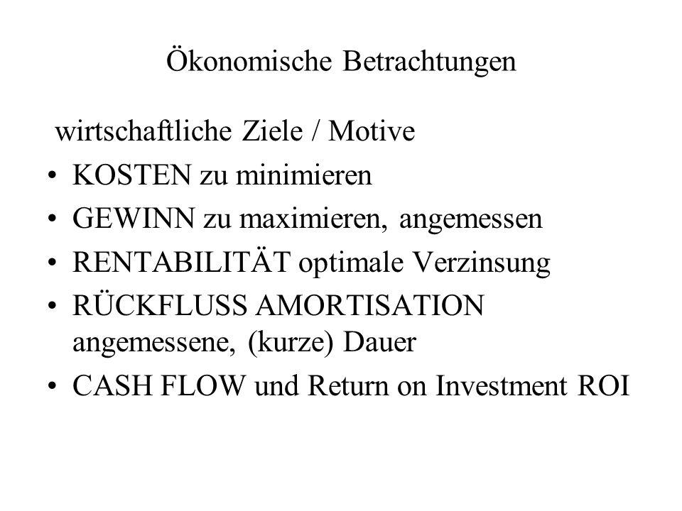 Ökonomische Betrachtungen wirtschaftliche Ziele / Motive KOSTEN zu minimieren GEWINN zu maximieren, angemessen RENTABILITÄT optimale Verzinsung RÜCKFL
