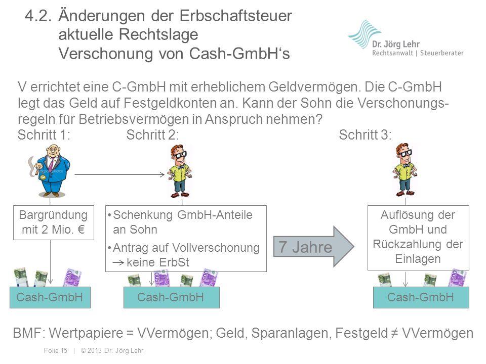 Folie 15 | © 2013 Dr. Jörg Lehr V errichtet eine C-GmbH mit erheblichem Geldvermögen. Die C-GmbH legt das Geld auf Festgeldkonten an. Kann der Sohn di