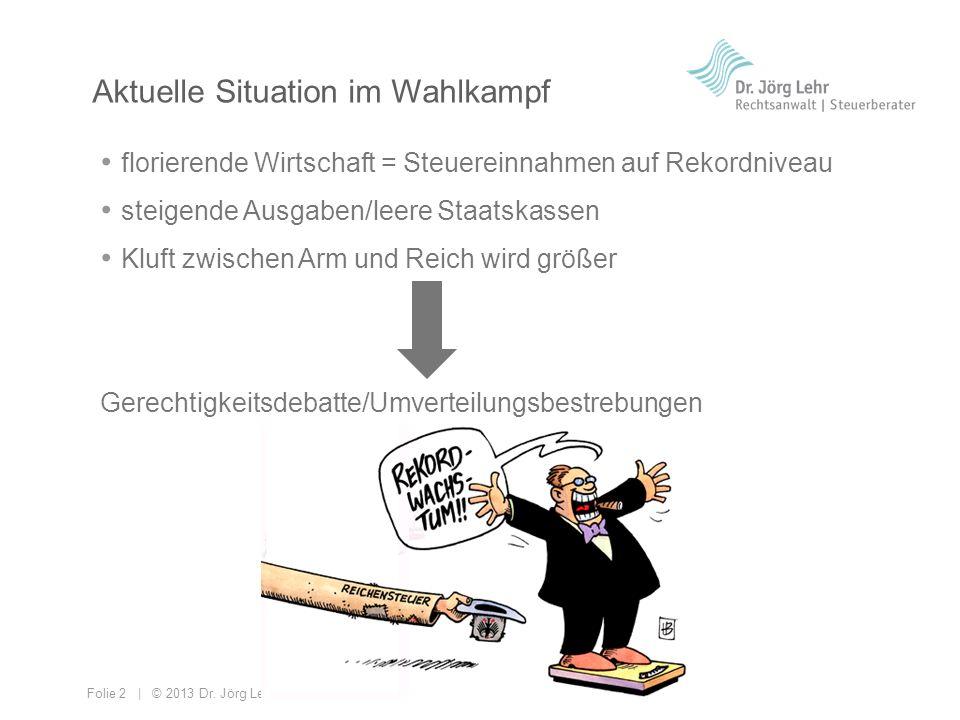 Folie 2 | © 2013 Dr. Jörg Lehr florierende Wirtschaft = Steuereinnahmen auf Rekordniveau steigende Ausgaben/leere Staatskassen Kluft zwischen Arm und