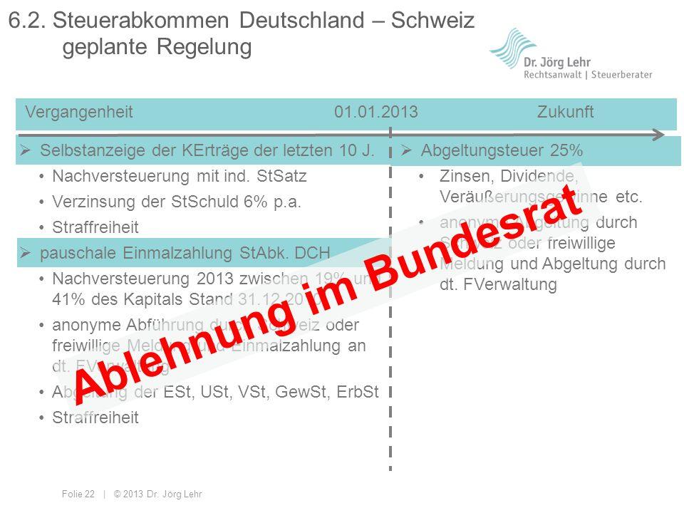 Folie 22 | © 2013 Dr. Jörg Lehr Abgeltungsteuer 25% Zinsen, Dividende, Veräußerungsgewinne etc. anonyme Abgeltung durch Schweiz oder freiwillige Meldu