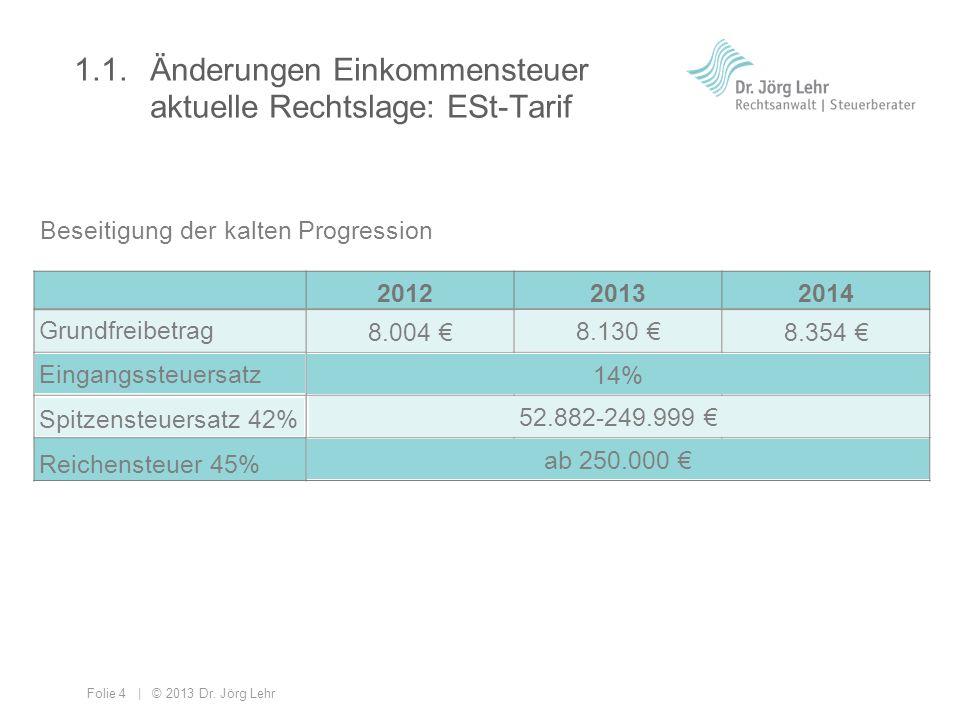 Folie 4 | © 2013 Dr. Jörg Lehr 1.1. Änderungen Einkommensteuer aktuelle Rechtslage: ESt-Tarif 201220132014 Grundfreibetrag Eingangssteuersatz Spitzens