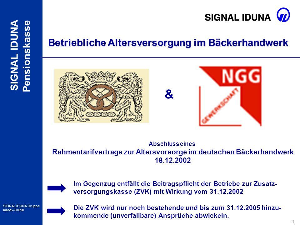 2 SIGNAL IDUNA Gruppe mabav-91690 SIGNAL IDUNA Pensionskasse Tarifvertrag zur Altersvorsorge im deutschen Bäckerhandwerk vom 18.