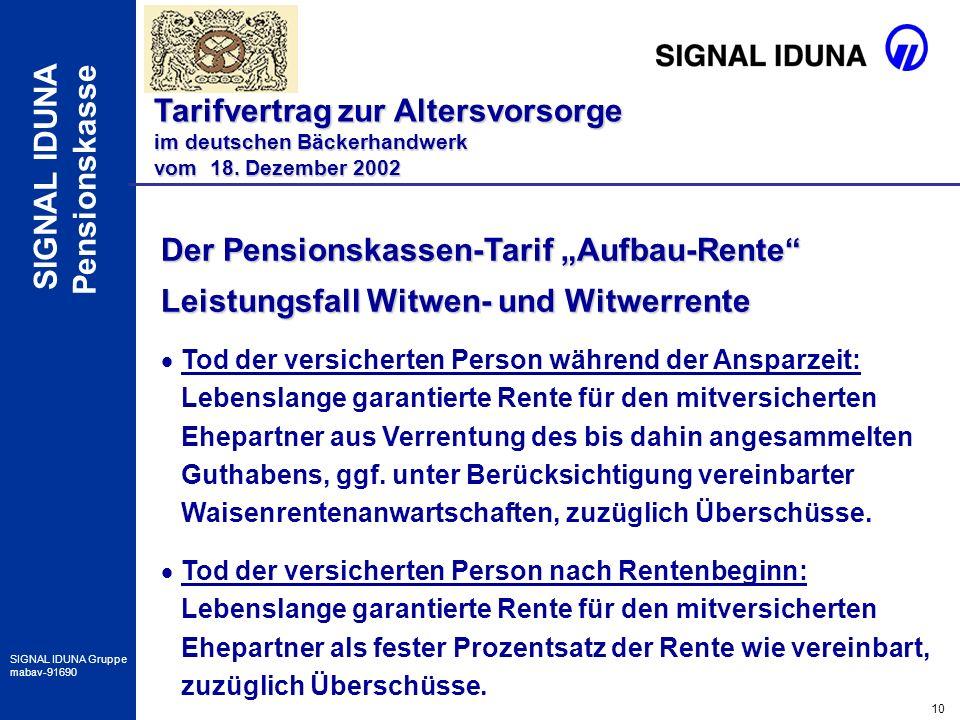 10 SIGNAL IDUNA Gruppe mabav-91690 SIGNAL IDUNA Pensionskasse Der Pensionskassen-Tarif Aufbau-Rente Leistungsfall Witwen- und Witwerrente Tod der vers
