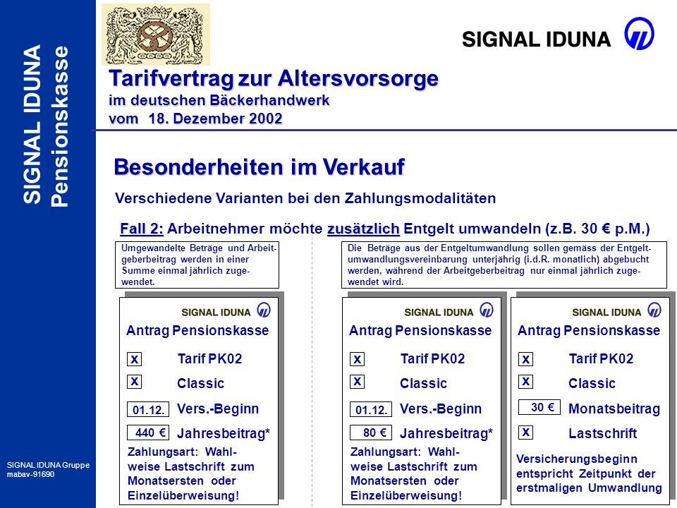 18 SIGNAL IDUNA Gruppe mabav-91690 SIGNAL IDUNA Pensionskasse Besonderheiten im Verkauf Tarifvertrag zur Altersvorsorge im deutschen Bäckerhandwerk vo