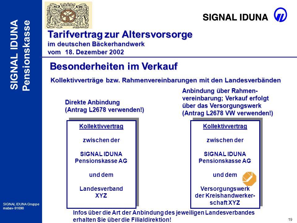 19 SIGNAL IDUNA Gruppe mabav-91690 SIGNAL IDUNA Pensionskasse Besonderheiten im Verkauf Tarifvertrag zur Altersvorsorge im deutschen Bäckerhandwerk vo
