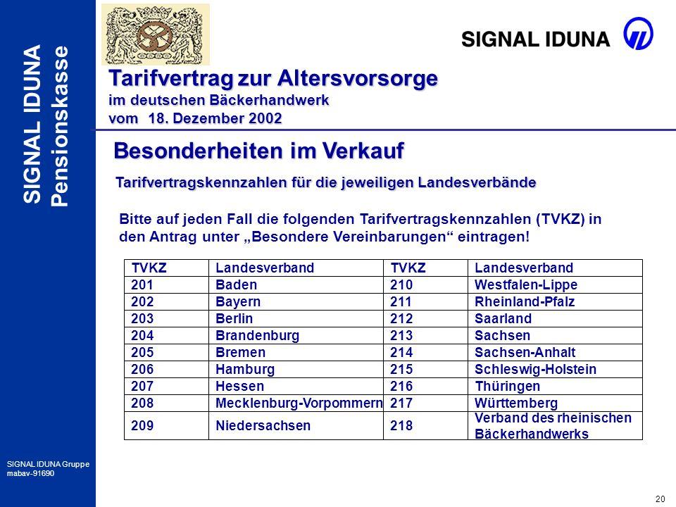 20 SIGNAL IDUNA Gruppe mabav-91690 SIGNAL IDUNA Pensionskasse Besonderheiten im Verkauf Tarifvertrag zur Altersvorsorge im deutschen Bäckerhandwerk vo