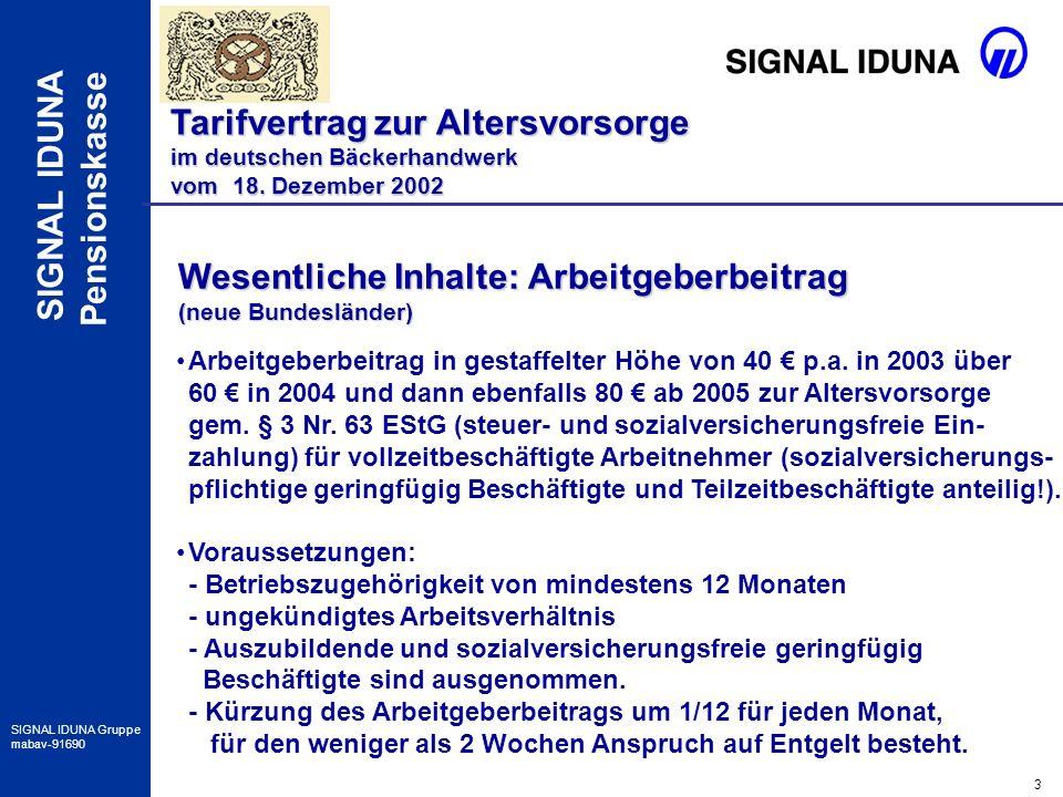 3 SIGNAL IDUNA Gruppe mabav-91690 SIGNAL IDUNA Pensionskasse Tarifvertrag zur Altersvorsorge im deutschen Bäckerhandwerk vom 18. Dezember 2002 Wesentl