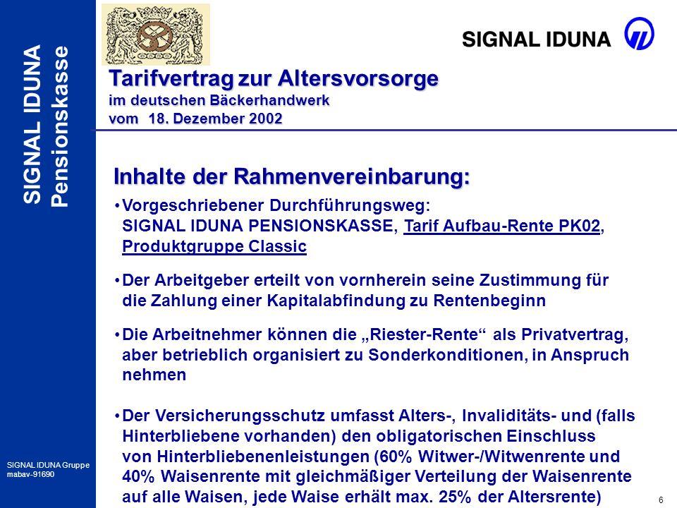 17 SIGNAL IDUNA Gruppe mabav-91690 SIGNAL IDUNA Pensionskasse Besonderheiten im Verkauf Tarifvertrag zur Altersvorsorge im deutschen Bäckerhandwerk vom 18.