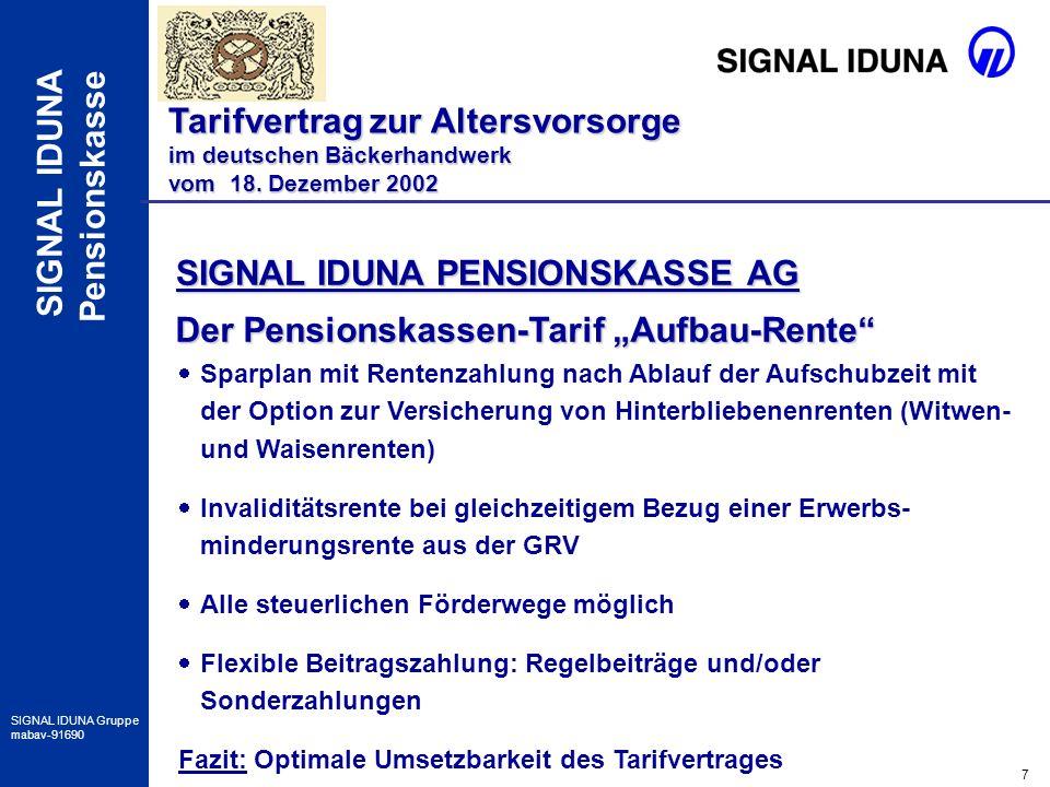 18 SIGNAL IDUNA Gruppe mabav-91690 SIGNAL IDUNA Pensionskasse Besonderheiten im Verkauf Tarifvertrag zur Altersvorsorge im deutschen Bäckerhandwerk vom 18.