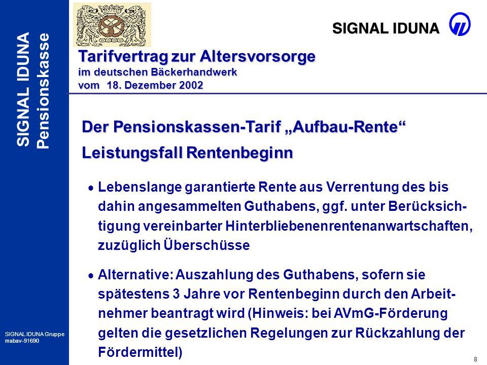 19 SIGNAL IDUNA Gruppe mabav-91690 SIGNAL IDUNA Pensionskasse Besonderheiten im Verkauf Tarifvertrag zur Altersvorsorge im deutschen Bäckerhandwerk vom 18.