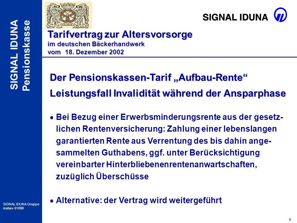 20 SIGNAL IDUNA Gruppe mabav-91690 SIGNAL IDUNA Pensionskasse Besonderheiten im Verkauf Tarifvertrag zur Altersvorsorge im deutschen Bäckerhandwerk vom 18.