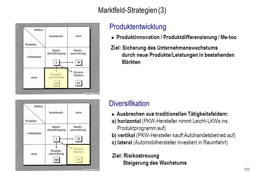 103 Marktfeld-Strategien (3) Produktentwicklung Produktinnovation / Produktdifferenzierung / Me-too Ziel: Sicherung des Unternehmenswachstums durch ne
