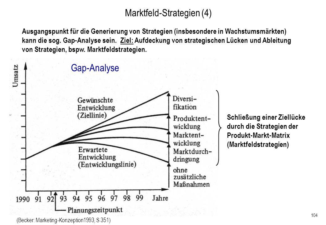 104 Marktfeld-Strategien (4) Ausgangspunkt für die Generierung von Strategien (insbesondere in Wachstumsmärkten) kann die sog. Gap-Analyse sein. Ziel:
