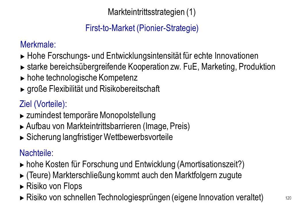 120 Markteintrittsstrategien (1) First-to-Market (Pionier-Strategie) Merkmale: Hohe Forschungs- und Entwicklungsintensität für echte Innovationen star