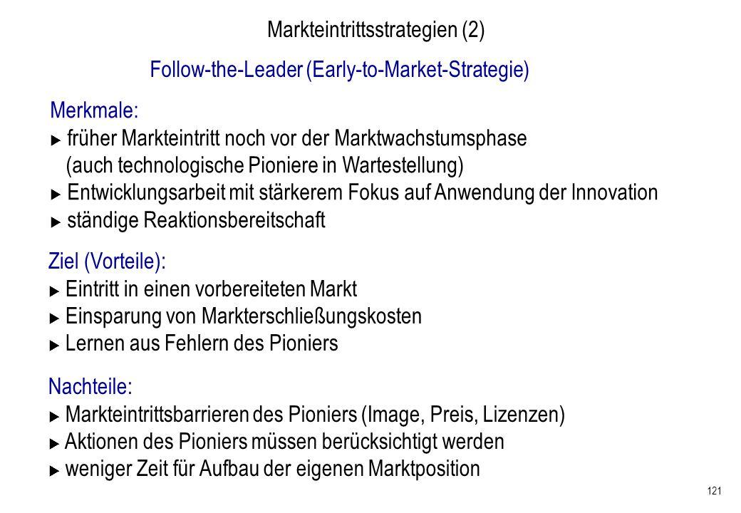 121 Markteintrittsstrategien (2) Follow-the-Leader (Early-to-Market-Strategie) Merkmale: früher Markteintritt noch vor der Marktwachstumsphase (auch t