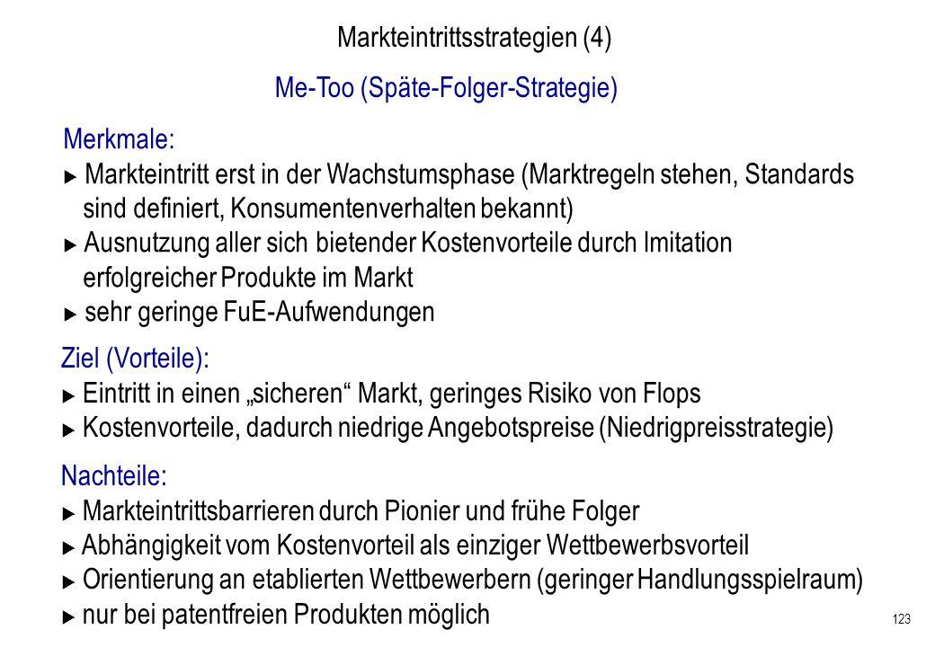 123 Markteintrittsstrategien (4) Me-Too (Späte-Folger-Strategie) Merkmale: Markteintritt erst in der Wachstumsphase (Marktregeln stehen, Standards sin