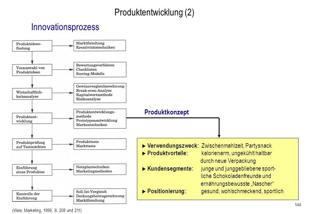 144 Produktentwicklung (2) (Weis: Marketing, 1999, S. 208 und 211) Verwendungszweck: Zwischenmahlzeit, Partysnack Produktvorteile: kalorienarm, ungekü