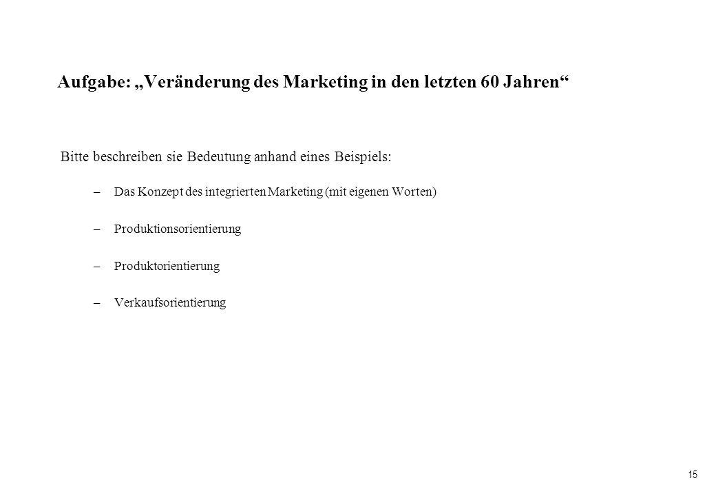 15 Aufgabe: Veränderung des Marketing in den letzten 60 Jahren Bitte beschreiben sie Bedeutung anhand eines Beispiels: –Das Konzept des integrierten M