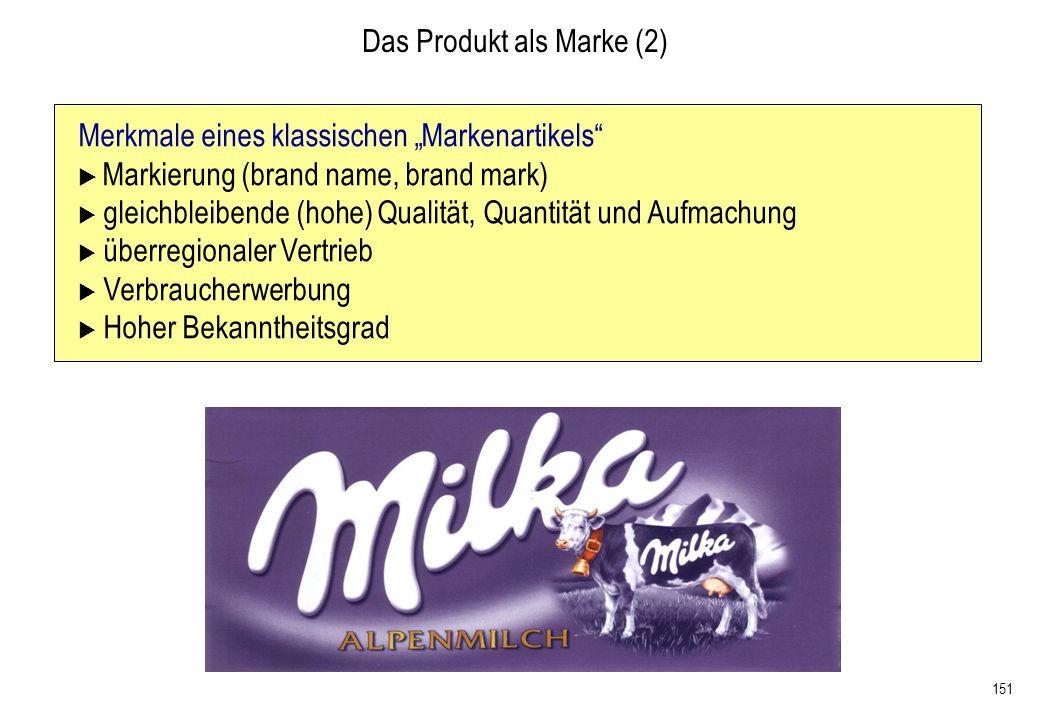 151 Merkmale eines klassischen Markenartikels Markierung (brand name, brand mark) gleichbleibende (hohe) Qualität, Quantität und Aufmachung überregion