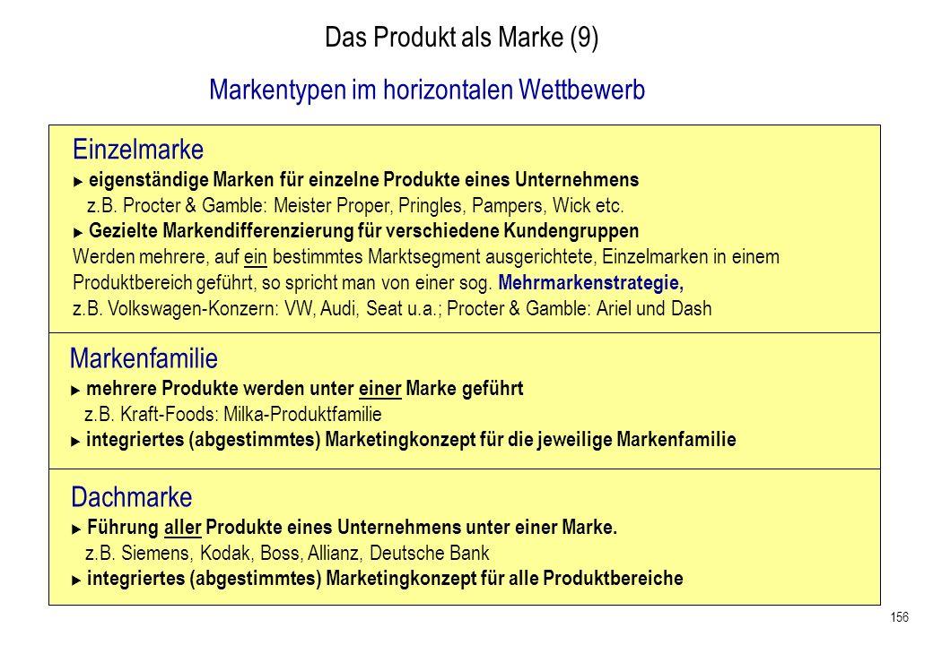 156 Das Produkt als Marke (9) Einzelmarke eigenständige Marken für einzelne Produkte eines Unternehmens z.B. Procter & Gamble: Meister Proper, Pringle