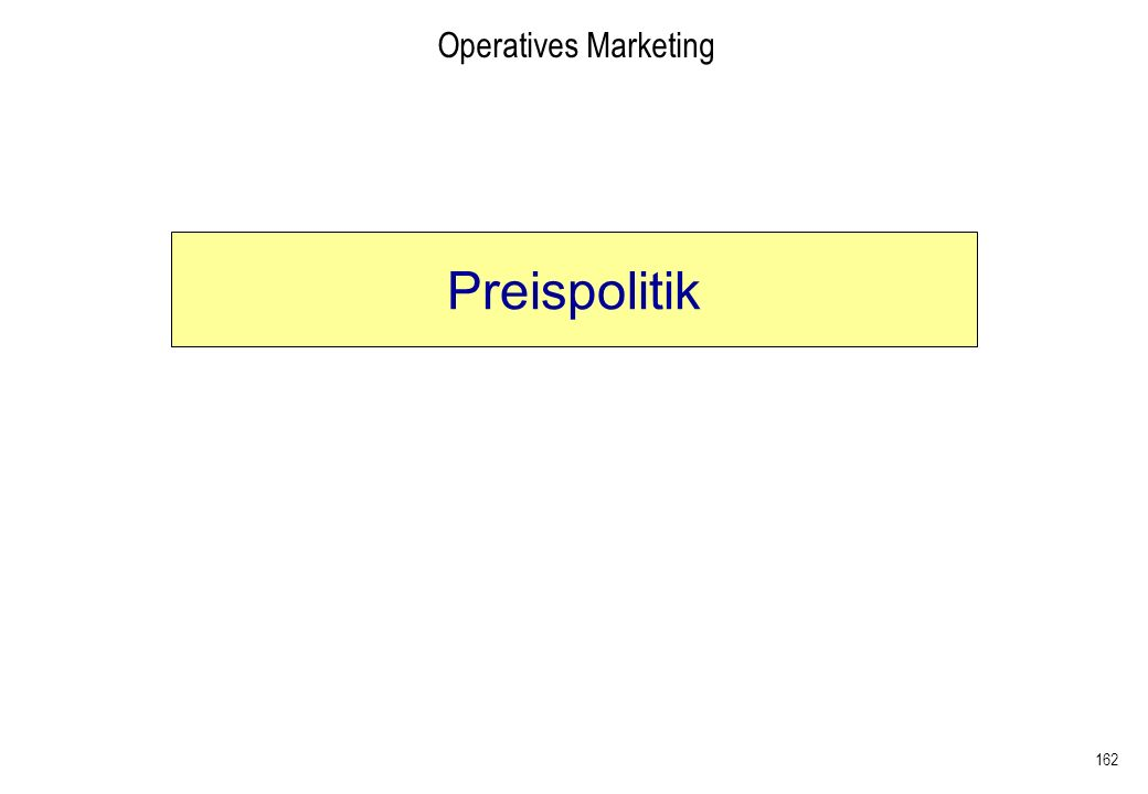 162 Operatives Marketing Preispolitik