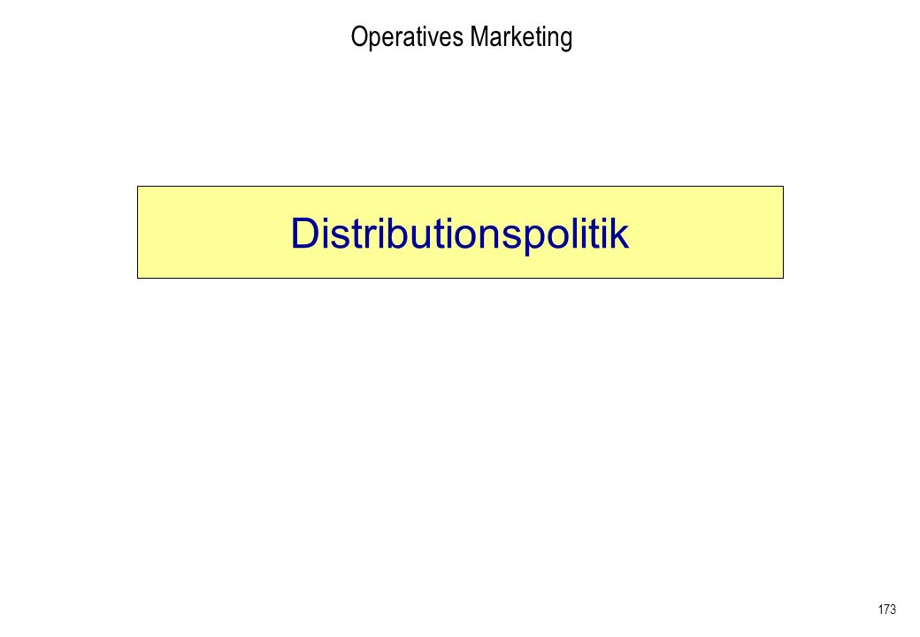 173 Operatives Marketing Distributionspolitik