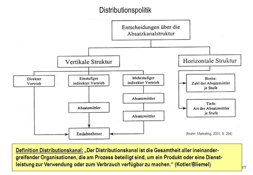 177 Definition Distributionskanal: Der Distributionskanal ist die Gesamtheit aller ineinander- greifender Organisationen, die am Prozess beteiligt sin