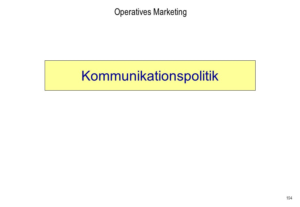 194 Operatives Marketing Kommunikationspolitik
