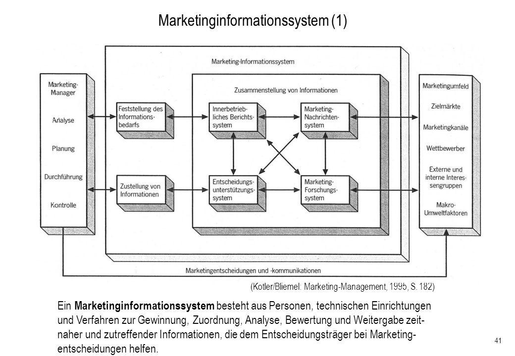 41 Marketinginformationssystem (1) Ein Marketinginformationssystem besteht aus Personen, technischen Einrichtungen und Verfahren zur Gewinnung, Zuordn