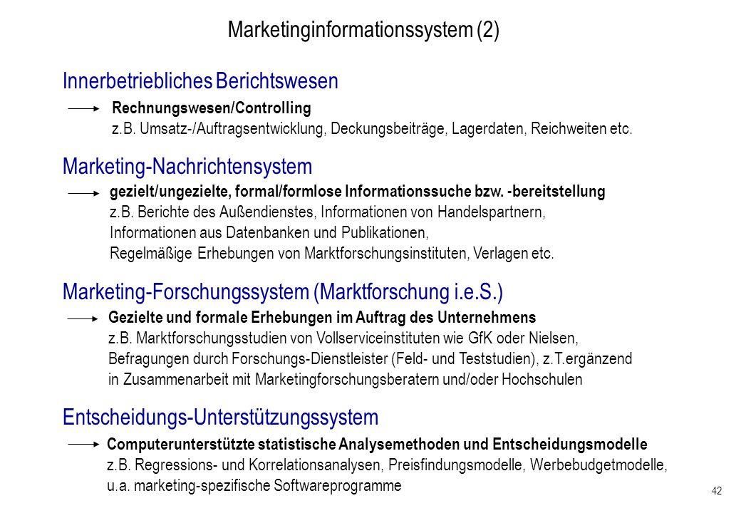 42 Marketinginformationssystem (2) Innerbetriebliches Berichtswesen Rechnungswesen/Controlling z.B. Umsatz-/Auftragsentwicklung, Deckungsbeiträge, Lag