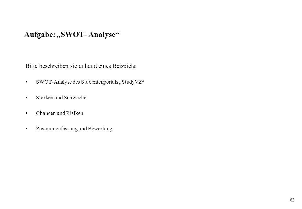 82 Aufgabe: SWOT- Analyse Bitte beschreiben sie anhand eines Beispiels : SWOT-Analyse des Studentenportals StudyVZ Stärken und Schwäche Chancen und Ri
