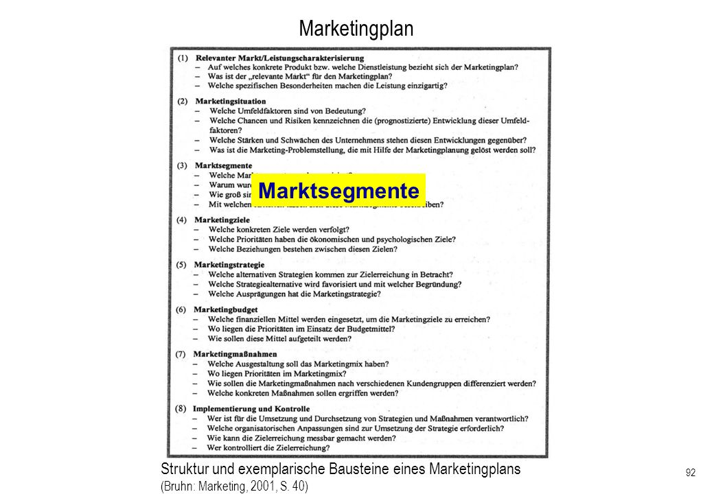 92 Marketingplan Struktur und exemplarische Bausteine eines Marketingplans (Bruhn: Marketing, 2001, S. 40) Marktsegmente