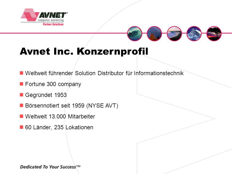 Avnet Inc. Konzernprofil Weltweit führender Solution Distributor für Informationstechnik Fortune 300 company Gegründet 1953 Börsennotiert seit 1959 (N