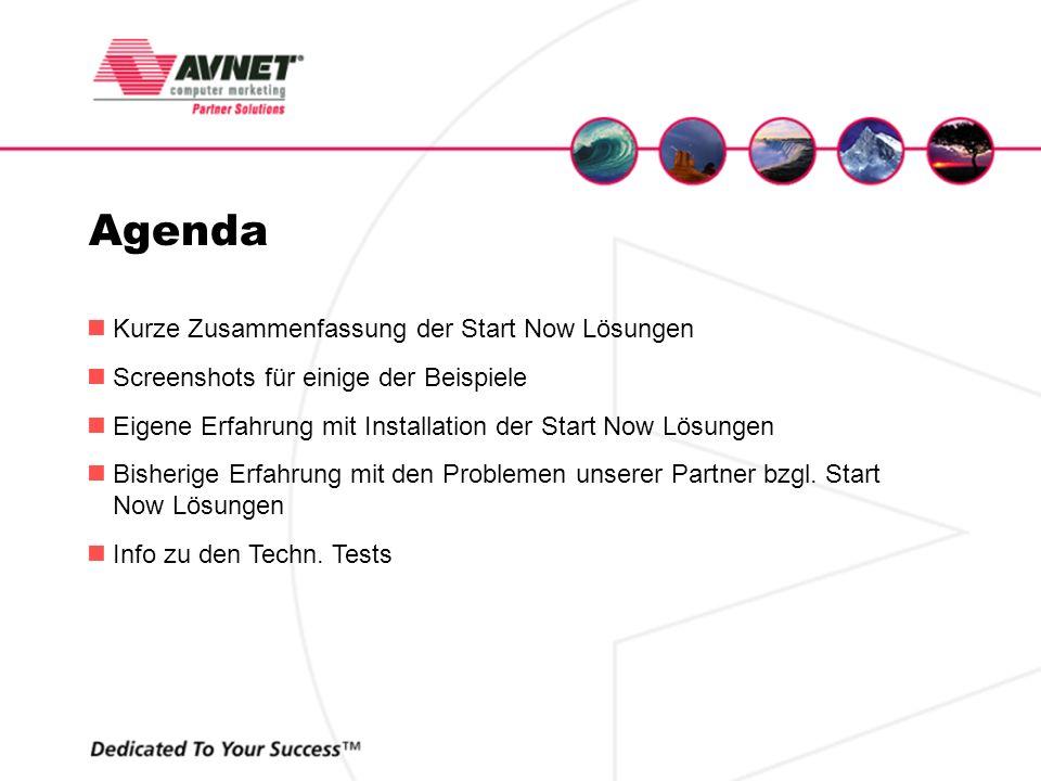 Agenda Kurze Zusammenfassung der Start Now Lösungen Screenshots für einige der Beispiele Eigene Erfahrung mit Installation der Start Now Lösungen Bish