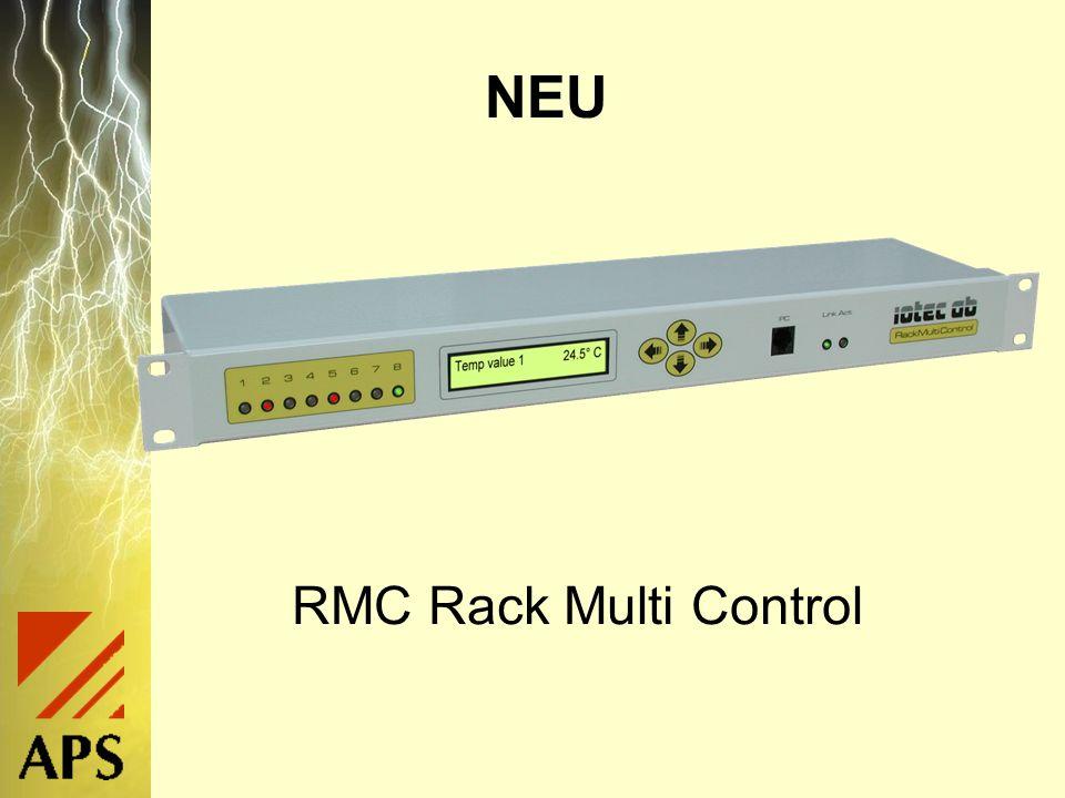 RMC Generelles Überwacht und kontrolliert Racks und Serverräume 19 Technologie, 1 Höheneinheit Keine Software nötig, arbeitet mit Browser Verkauf als Set inkl.