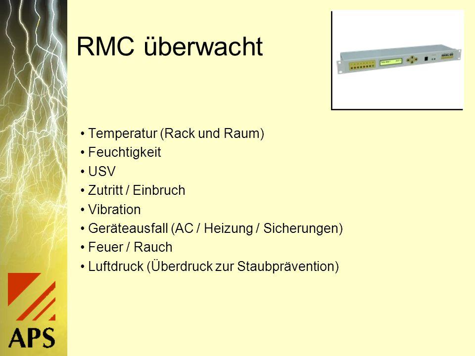 RMC überwacht Temperatur (Rack und Raum) Feuchtigkeit USV Zutritt / Einbruch Vibration Geräteausfall (AC / Heizung / Sicherungen) Feuer / Rauch Luftdruck (Überdruck zur Staubprävention)