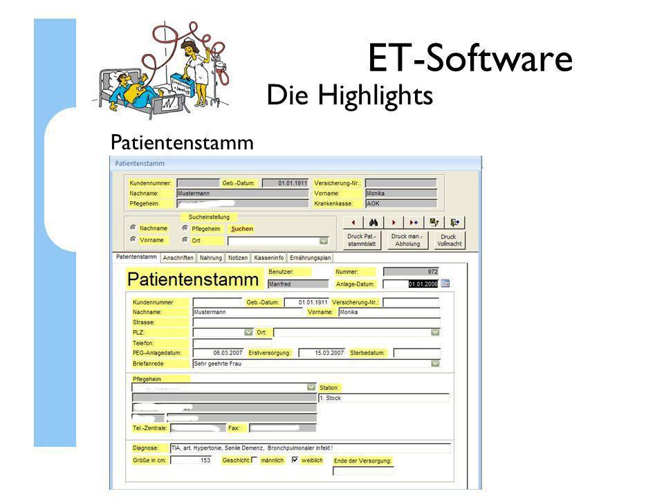 ET-Software Die Highlights Patientenstamm